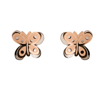 Infantil MARIPOSA MD- doble 8mm Oro blanco y rosa 18K